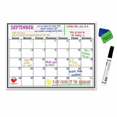 17 x 12 Monthly Magnetic Refrigerator Calendar White Dry Erase Board US Shipping