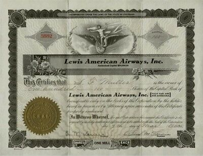 1935 Lewis American Airways Stock Certificate Airomobile Flying Auto Prototype