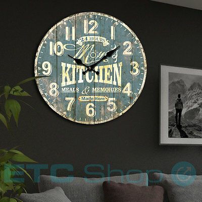 Vintage Design Quartz Wall Clock Analog Time Display Kitchen Imprint Blue