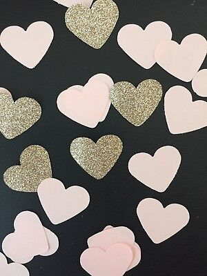 200 Pink And Gold Heart Table Confetti Wedding Glitter Party Baby Shower