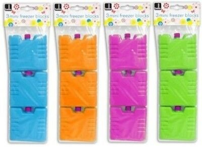 Set of 3 Freezer Ice Blocks Travel Cooler Bag Box Reusable Picnic Lunch Camping