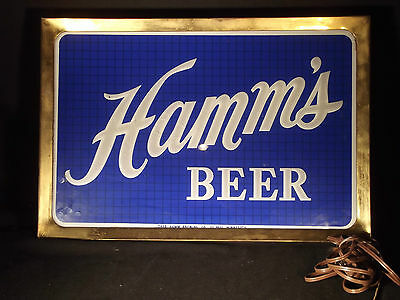 Hamm's Reverse Painted Glass Double Sided Beer Sign/Light. Rewired by Pro !!!
