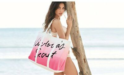 New Victoria's Secret Beach Day Canvas Tote Bag Ombre Pink