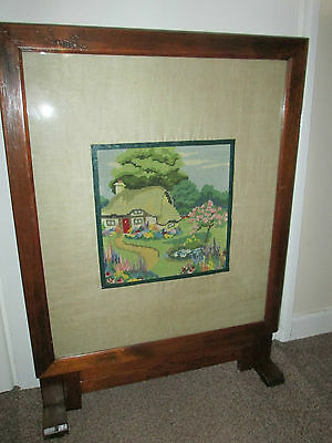 Antique Edwardian Tapestry Embroidery Pictures Screen Table Country Farmhouse