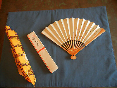 "Womens Vintage Japanese Japan Hand Painted Silver & Floral Folding Fan 8"" w/Box"