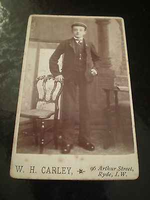 Cdv old photograph man cap by Carley at ryde Isle of Wight 1890s Rf 511(3)