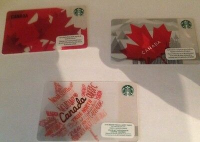 Lot of 3 Starbucks Canada card gift cards flag maple leaf NEW