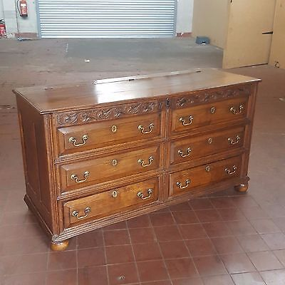 Antique Large Georgian Solid Oak Mule Chest, Blanket/rug Chest. Drawers