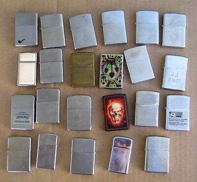 Vintage Mix Lot Of 23 Zippo Lighters Junk Drawer Find Parts Advertising