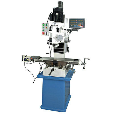 """PM-932M-PDF 9x32"""" VERTICAL MILLING MACHINE POWER DOWN FEED ON SPINDLE 3AXIS DRO"""