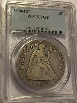 1870-CC Seated Liberty Dollar PCGS VG10 1870 CC $1 PCGS VG-10 NO RESERVE + FS!!!