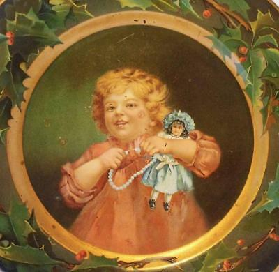 Antique C.D. Kenny Advertising Plate ~Young Girl With Doll & Holly Border