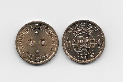 Macau Portuguese Colony 10 Avos 1968 Unc Portuguese Shield Flanked By Upper And