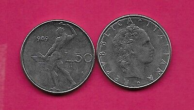 Italy Rep 50 Lire 1989R Xf Vulcan Standing At Anvil Facing Left Divides Date & V