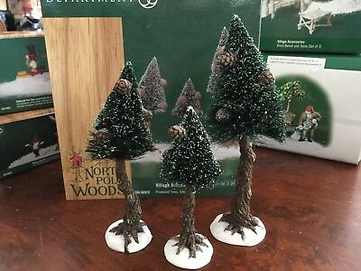 Department 56 North Pole Woods Christmas Village Pinewood Trees (set of 3)