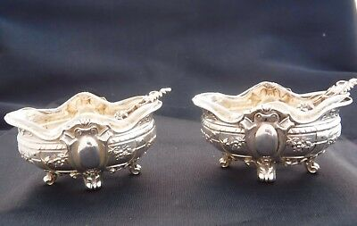 Antique French Sterling Silver Charles Barrier salt cellars with spoons 1905-192