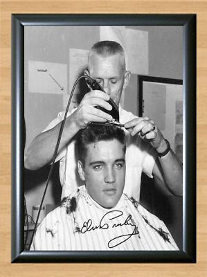 Elvis Presley Army Barber Shop Signed Autographed A4 Photo Poster Memorabilia cd