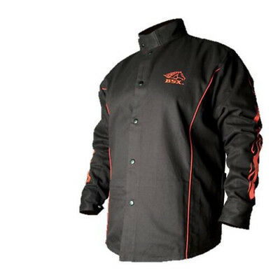 BSX Flame-Resistant Welding Jacket - Black with Red Flames, Size Large TAX FREE