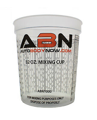 ABN Clear Plastic Paint Mixing Cup 32oz Ounce / 946mL Milliliter