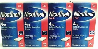 X4 Boxes of 72 Nicotinell Fruit 4mg Medicated Chewing Gums THATS 288 GUMS!