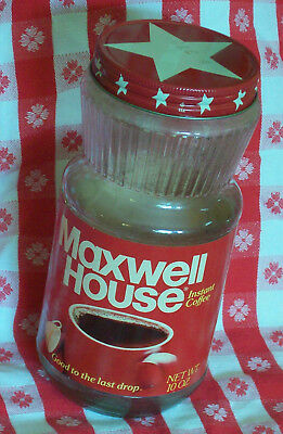 Vintage Maxwell House Instant Coffee 10 oz Glass Jar with Metal Lid