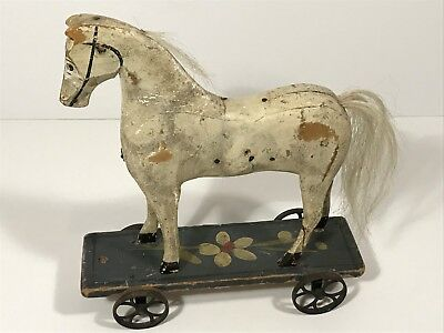 Rare 19th C. Miniature Antique Wooden Horse Pull Toy, Orig. Flower Painted Base