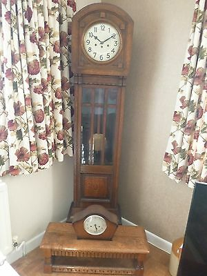 Grandfather Clock In Oak Smaller Size. Also With Mantle Clock