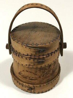 Rare 19th C. Miniature Carved Wooden Firkin, Signed Amesbury, MA, C. 1850-80, NR