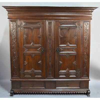 Exquisite 17th c. North German Baroque Carved Oak & Wrough Iron Cupboard Armoire
