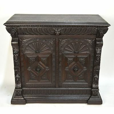 Antique Carved Oak English Neo Renaissance Geometric Buffet Figural Mountain Man