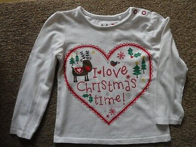 Baby girls Christmas Top -'I love Christmas Time' age 12-18 months - cotton