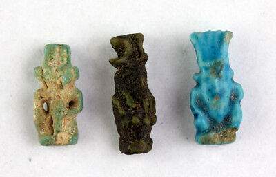 *sc*lot Of Three Egyptian Amulets Of Bes, Late Period, 600-300 Bc!