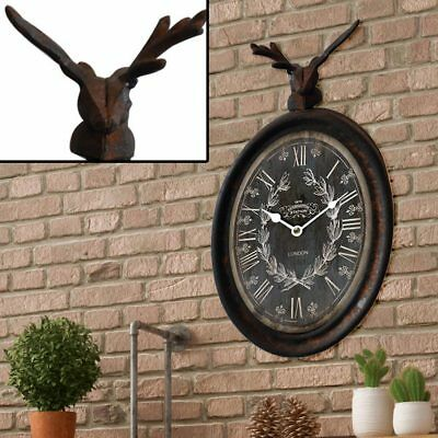 Country House Style Wall Clock Time Display Hirsch Animal Figurine Motive Metal