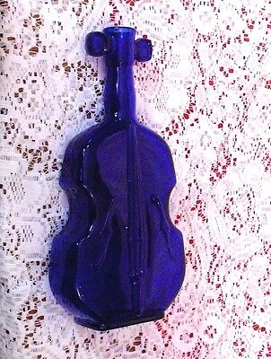 Vintage Cobalt Blue Violin-Shaped Figural Old Bottle Ex. Condition!