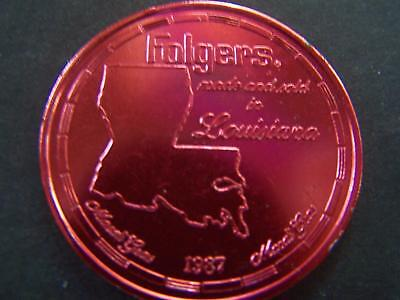 1987 FOLGER'S COFFEE Red Aluminum Mardi Gras Doubloon