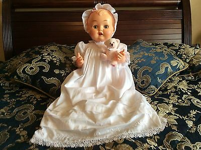 Rare Vintage Kader Doll Huge 25 Inch Tall In Gorgeous Dress & Antique Petticoat.
