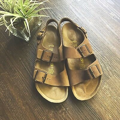 Birkenstock Germany Made Womens 8 39 Milano Brown Leather Ankle Strap Sandals