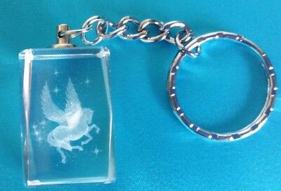 BEAUTIFUL 3D LASER ETCHED NOVELTY CRYSTAL KEYRING in GIFT BOX - UNICORN, PEGASUS