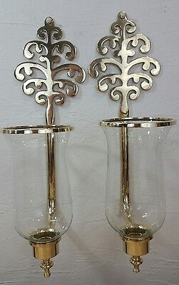 2 Vintage Solid Brass And Glass Wall Candle Hurricane Globe Wall Sconces