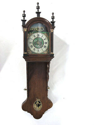 Antique 19th C Hanging Wall Grandfather Clock Painted Face Dial 3 Weights NR yqz