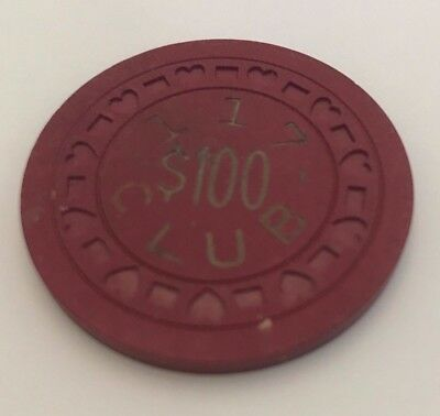 Extremely Rare Antique 117 Club Illegal Casino Clay $100 Chip