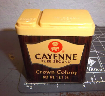 Vintage Crown Colony CAYENNA 1.5 oz spice tin, Great colors & graphics