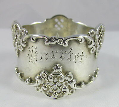 Antique Sterling Silver Pierced Lacey Lattice Floral Napkin Ring Harriet