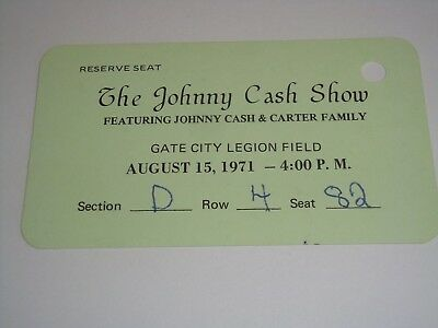 THE JOHNNY CASH SHOW 1971 CONCERT TICKET  Carl Perkins GATE CITY LEGION FIELD