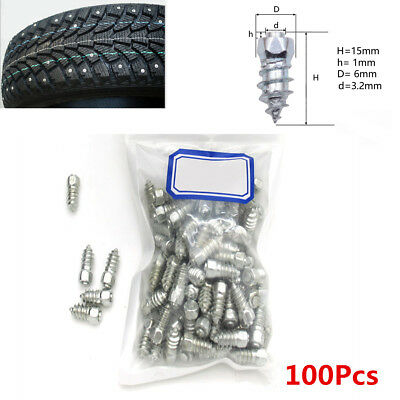 100X Universal 15mm Screw In Tire Stud Snow Spikes Wheel Tyres Snow Chains Studs