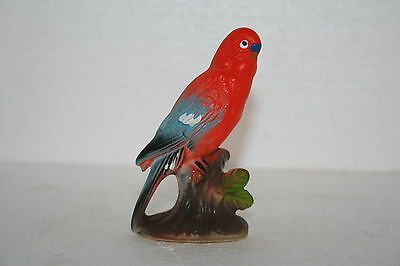 Vintage Marked Japan Hand Painted Art Pottery Colorful Parakeet Bird Figurine