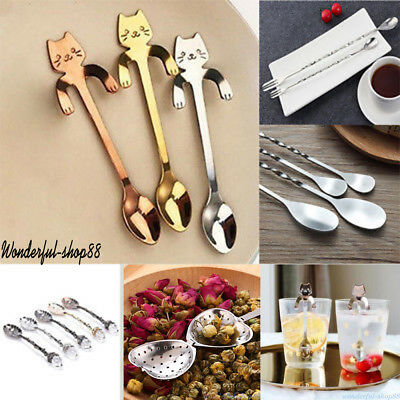 11 Styles Cat Stainless Steel Ice Cream Cocktail Teaspoons Coffee Soup Tea Spoon