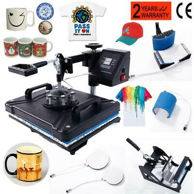 5 In 1 Digital Heat Press Machine Sublimation T-Shirt/Mug/Plate Hat Printer New