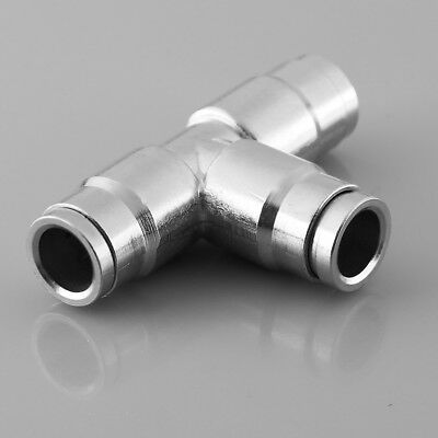 1pc 3/8'' Nickel Plated Brass 3 Way T Tubing Tee Hose Pipe Connector New