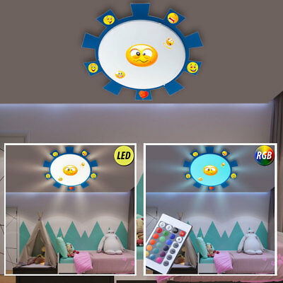 LED Children Ceiling Light RGB Remote Control Smiley Sticker Wall Lamp Dimmable